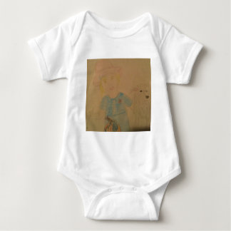 A girl and her dog. baby bodysuit