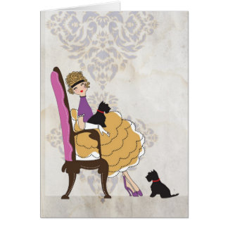 A Girl and Her Dogs Note Card