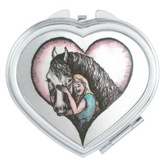 A girl and Her Horse Heart Shaped Compact Mirror