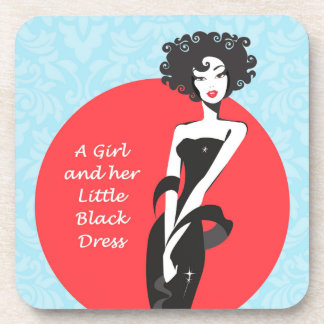 A Girl and her Little Black Dress Plastic coasters