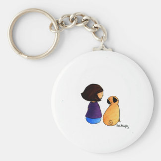 A Girl and Her Pug (brunette) Basic Round Button Key Ring