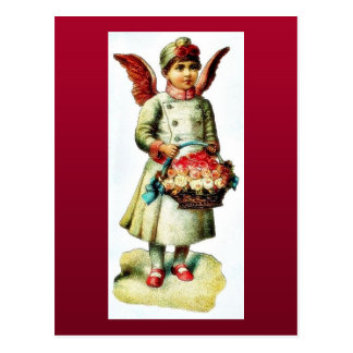 A girl dressed as angel carrying boque postcard