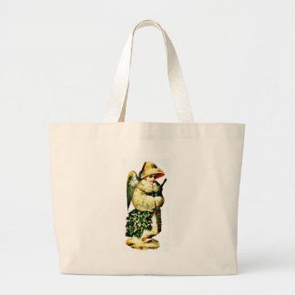 A girl dressed as angel carrying holy leaves canvas bags
