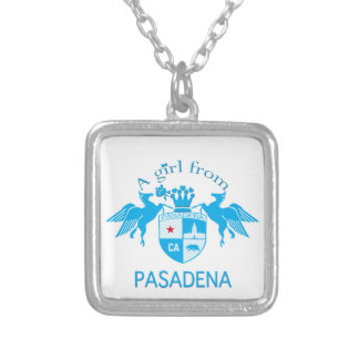 A Girl From PASADENA Logo Blue Emblem Necklace