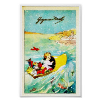 A girl going in a boat with gifts poster