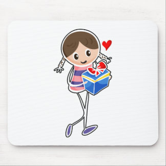 A girl holding a blue gift box mousepads