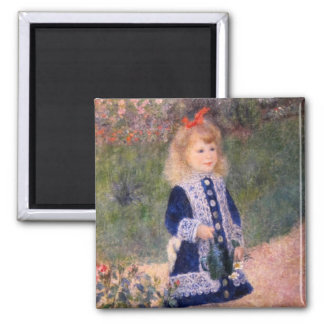 A Girl With A Watering Can by Pierre Renoir Square Magnet