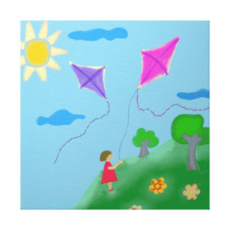 A Girl with Kites Canvas Print