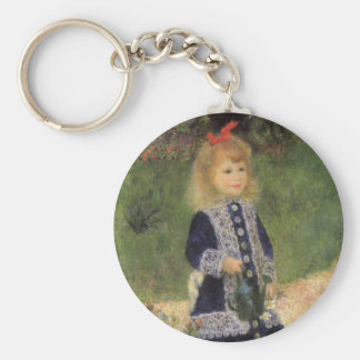 A Girl with Watering Can by Pierre Renoir Basic Round Button Key Ring
