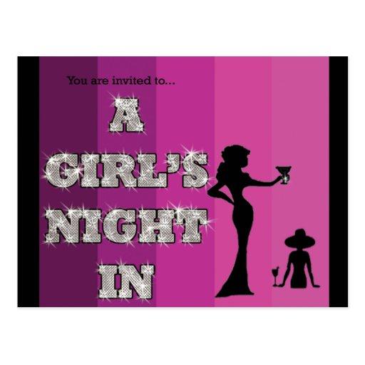 A Girl's Night In - Postcard Invitation