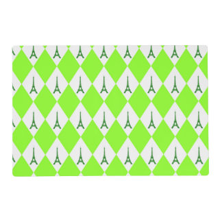 A girly neon green diamond eiffel tower pattern placemat