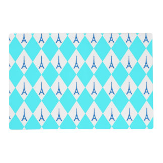 A girly neon teal diamond eiffel tower pattern laminated placemat