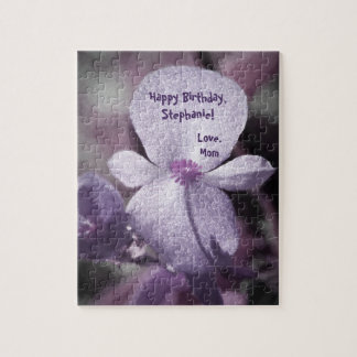 A Girly Sparkly Purple Flower with Gray and Black Jigsaw Puzzle