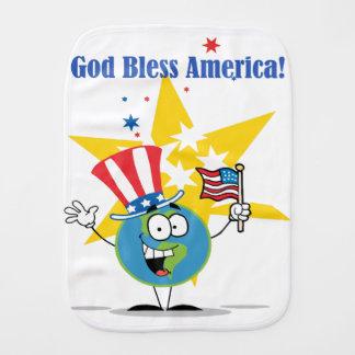 A Globe Cartoon Character with American Patriotic Burp Cloth