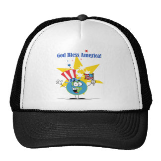 A Globe Cartoon Character with American Patriotic Cap