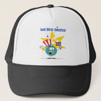 A Globe Cartoon Character with American Patriotic Trucker Hat