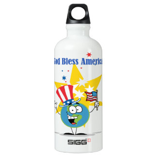 A Globe Cartoon Character with American Patriotic Water Bottle