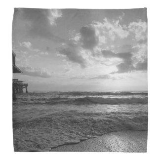 A Glorious Beach Morning Grayscale Bandana