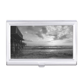 A Glorious Beach Morning Grayscale Business Card Holder