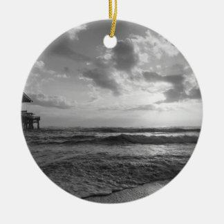 A Glorious Beach Morning Grayscale Ceramic Ornament