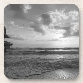 A Glorious Beach Morning Grayscale Coaster