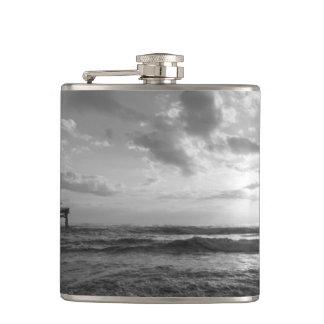 A Glorious Beach Morning Grayscale Hip Flask