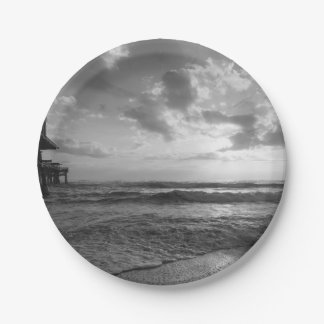 A Glorious Beach Morning Grayscale Paper Plate
