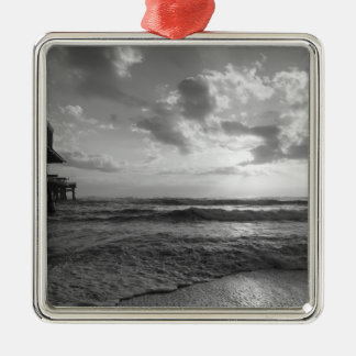 A Glorious Beach Morning Grayscale Silver-Colored Square Decoration