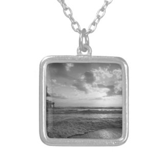 A Glorious Beach Morning Grayscale Silver Plated Necklace