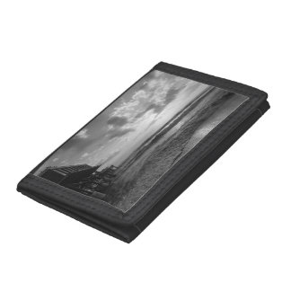A Glorious Beach Morning Grayscale Trifold Wallets