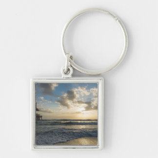 A Glorious Beach Morning Silver-Colored Square Key Ring
