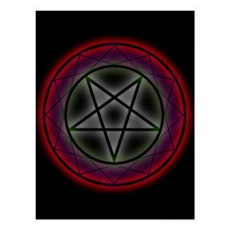 A glowing pentagram postcard