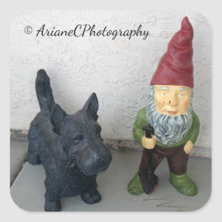A gnome and his dog stickers
