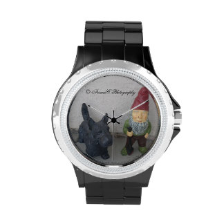 A gnome and his dog watch wrist watches