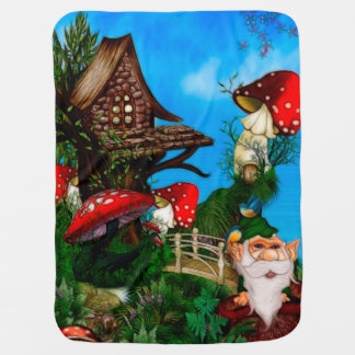 A Gnome for my Garden Fantasy Art Baby Blanket