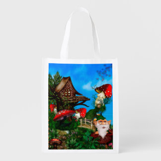 A Gnome for my Garden Fantasy Art Reusable Grocery Bag
