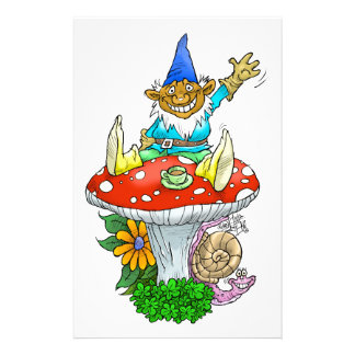 A Gnome on stationary. Personalised Stationery