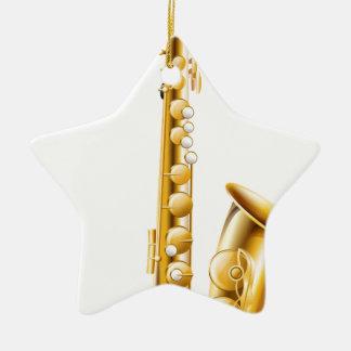 A gold saxophone ceramic ornament