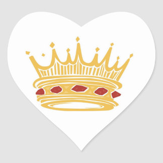 A Golden King's Crown With Jewels Wedding Hearts Heart Sticker