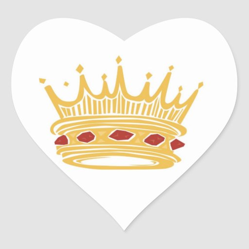 A Golden King's Crown With Jewels Wedding Hearts Heart Stickers