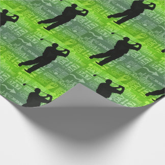 A Good Day Male Golfer Theme in Green Wrapping Paper