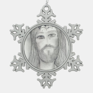 A Good Jesus Snowflake Pewter Christmas Ornament