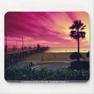 A gorgeous sunset at the pier, Huntington Beach, C Mousepads