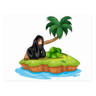 A gorilla in the island postcard