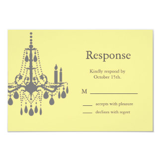 A Grand Ballroom RSVP yellow/gray 3.5x5 Paper Invitation Card