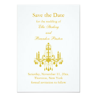 A Grand Ballroom Save the Date (yellow) 5x7 Paper Invitation Card