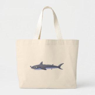 A gray shark jumbo tote bag