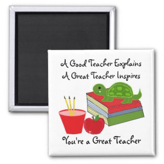 A Great Teacher Square Magnet