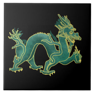 A Green Dragon with Gold Trim Ceramic Tile