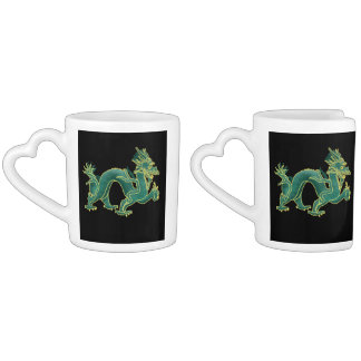 A Green Dragon with Gold Trim Couple Mugs